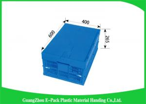 China Collapsible Storage Crate With Attached Lids , Portable Plastic Folding Storage Boxes on sale
