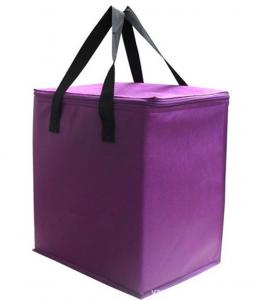 China Insulated Cooler Tote Bags / Disposable Lunch Bag / Purple Cooler Bag For Adults on sale