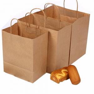 China Custom made take away fast food 120G kraft paper bag on sale