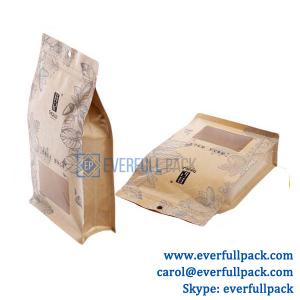 China Custom design food grade stand up flat bottom pouch kraft paper bag with custom shape clear window and zipper on sale