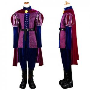 China Princess Dress Wholesale Brocade Velvet Purple Movie Sleeping Beauty Dress Prince Phillip Cosplay Costume Custom Size on sale
