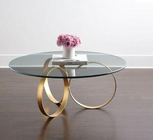 China Hot selling Round Center Table Stainless Steel Base glass Top Coffee Tape Side Table on sale