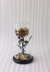 China Never fade gold dipped heart shape real preserved gold rose in glass on sale