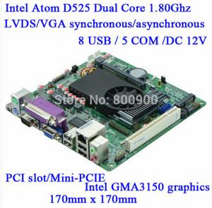 China Mini Itx industrial motherboard Intel ATOM D525 DC12V 5*COM Single 18bit LVDS Industrial Motherboards M5S-D5 on sale