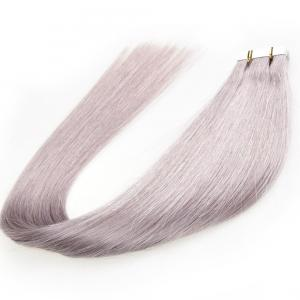 China Brazilian Virgin Glue PU Tape Hair Extensions For Thin Hair , Grey Color on sale
