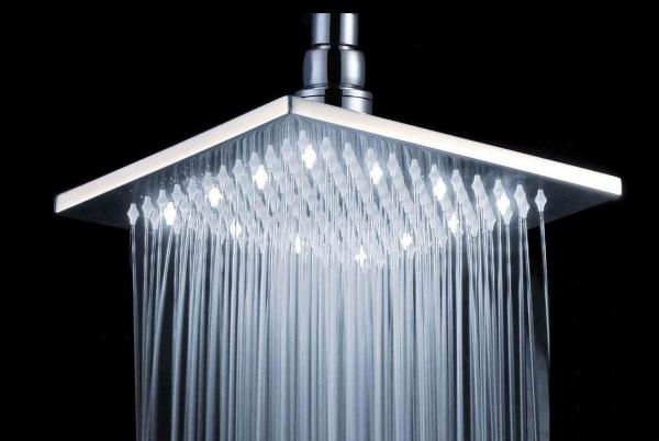 Large Square Ceiling Ball Joint Rain Shower Head With White Led Light Images