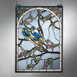 Lovebirds Trellis Stained Gl Wall Hanging Tiffany