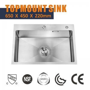 China NANO 33x19 Single Bowl Drop In Kitchen Sink  , Cabinet High End Stainless Steel Sinks 18 Gauge on sale