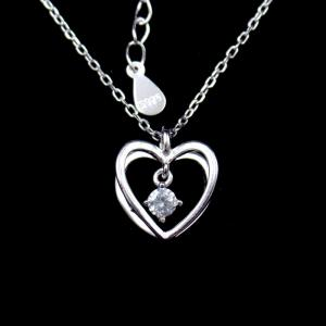 China 3D Heart Shaped Necklace Cross Chain And Hanging Zircon Shining Stone Sterling Silver on sale