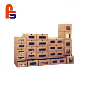 China Customized Kraft Paper  With Clear PVC Window Cardboard Shoe Storage Boxes on sale
