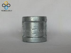 China Hot dip galvanized malleable cast iron pipe fitting sockets banded half threads with ribs on sale