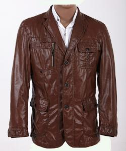 China OEM Excelled Stylish and Designer, Size 48, Size 54, Dark Red Mens Leather Blazers on sale