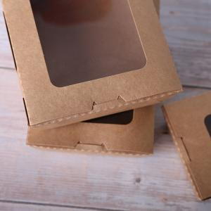 China Disposable Takeaway Kraft Paper Boxes with PET Window on sale
