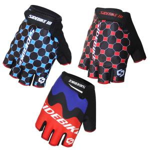 China Outdoor Sports Bike Half Finger Gloves Customized Label Bright Color Printed on sale