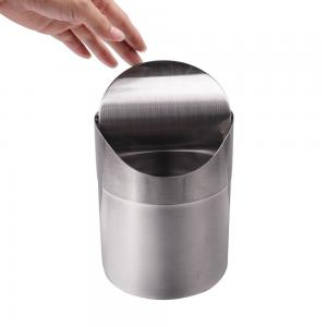 China Popular Desktop Trash Can With Lid  Small Tiny Countertop Desktop Garbage Bin on sale