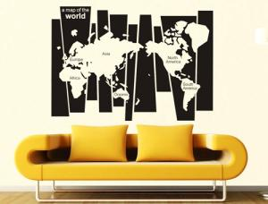 China New Wall Stickers/ DIY Removable New Wall Sticker Wall Home Decor Art A Map of The World Decal Mural Paper in China on sale