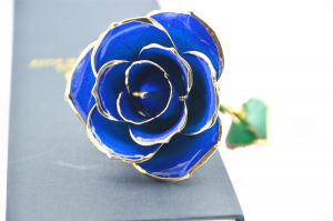 China Dark Blue 24k Gold Rose 30*6cm , Real 24K Gold Dipped Rose Valentine's Day Gifts on sale