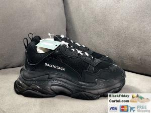 China 2019SS BALENCIAGA TRIPLE S VINTAGE DADDY SHOES BLACK SNEAKER BEST SELLER on sale