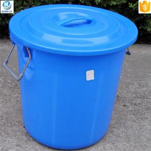 China Round shape 50 liter plastic bucket with lid and handle on sale