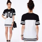 Fashion Women Longline Loose Long T Shirt Baseball Dress With Printed