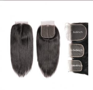 China 4X4 5x5 6x6 Straight Cambodian Virgin Hair Lace Closure Natural Color on sale