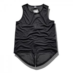 China Singlet for Mens  Black Custom Tank Tops with Zippers on sale