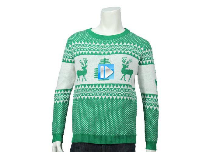 Mens Winter Sweater Warm Wool Knitted Ugly Christmas Deer Crewneck Long Sleeve