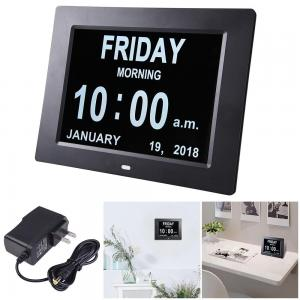 China Day Clock Digital LED Wall Clock Calendar Alarm Clock 8 Extra Large Impaired Vision 3 Medicine Reminder Display Clock on sale