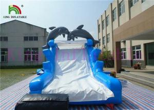 China Blue White Dolphin PVC Inflatable Dry Slide With Board Slide And CE Blower on sale