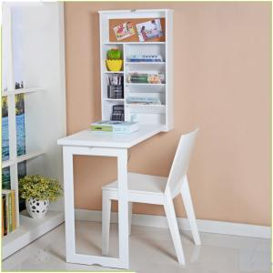 China Students Space Saving 49*15*82cm Wood Wall Mounted Computer Table on sale