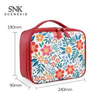 China Travel Cosmetic Bag With Zipper Floral Compartment Red Portable Makeup Bag on sale