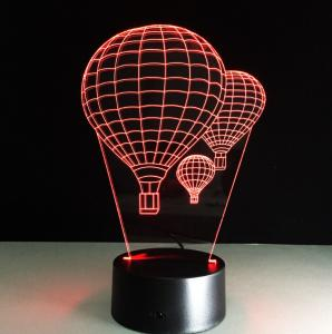 China Hot Air Balloon 7 Colors Change 3D LED Night Light with Remote Control Ideal For Birthday Gifts And Party Decoration on sale