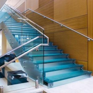 China Residential Commercial Steel Stringer Unti - Skid Frosted Glass Stair Stainless Steel Glass Staircase on sale
