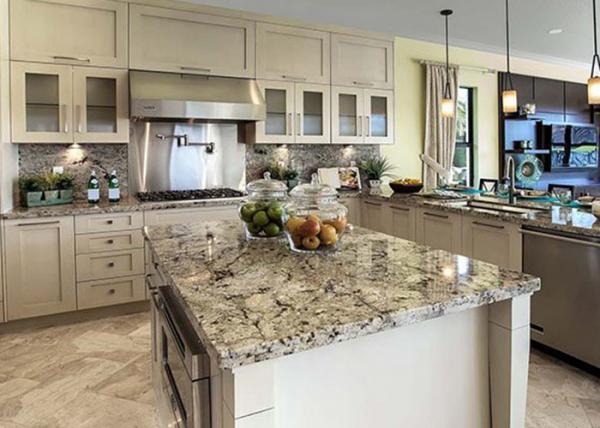 Modern Prefab Home Natural Stone Kitchen Countertops Flat