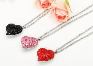 China a large and bulky hyacinth, jet crystal heart pendant and silver chain shamballa style on sale