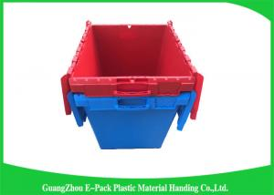 China Solid Moving Plastic Attached Lid Containers , 50kgs Security Plastic Bins With Lids on sale