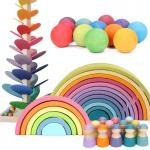 Montessori Wave Forest Stacker Tower Rainbow Toy Stacker