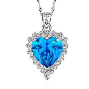 China Sterling Silver Created Blue Topaz Heart Pendant Necklace for Women (N12281) on sale
