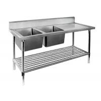 China Restaurant Prep Table With Sink 1 / 2 / 3 Sinks Stainless Steel Sink Table on sale