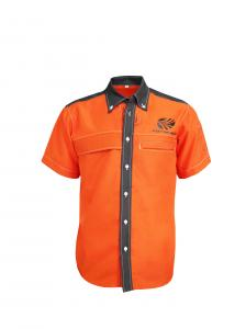 China 195GSM 65% Polyester 35% Cotton Polo T-Shirt For Men Color Orange Contrast Black on sale