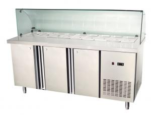 Three Doors Undercounter Refrigerator Freezer With Gn Pan Gl Cover 350l
