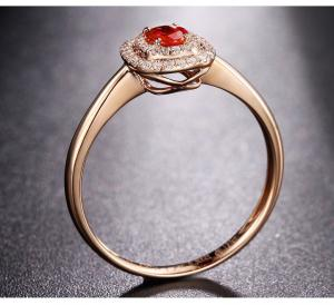 Luxury Ruby And Rose Gold Engagement Ring With Pave Diamonds