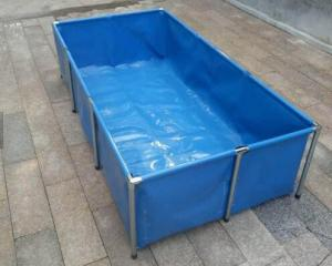 China Fireproof 4000L Tarpaulin Fish Tank With Blue Fish Pond Liner Environmental PVC on sale