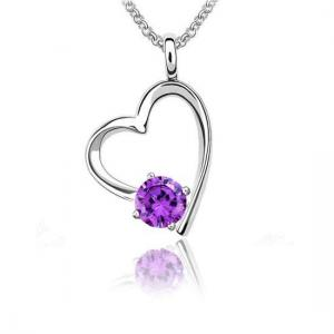 China Fashion Sterling Silver Charm Necklace With Crystal Heart Pendant For Women on sale