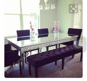 Quality Sophia Silver Gl Dining Table 160 90 75cm Mirror Room