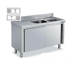Quality Freestanding Hotel Commercial Stainless Steel Sinks With Double Drainboard For