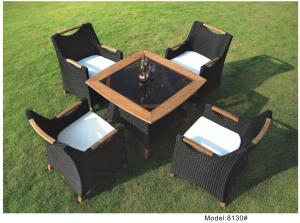 China 5-piece poly rattan wicker teak handrail hotel dining set outdoor furniture -8130 on sale