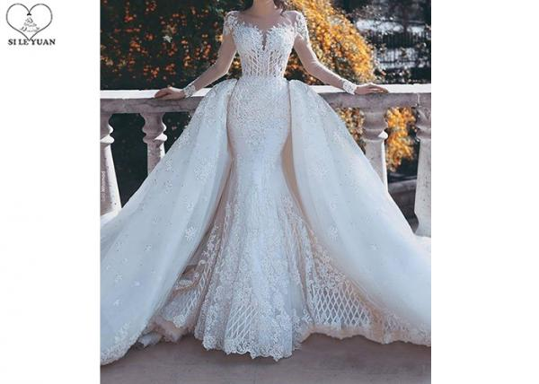 Outside Mermaid Ballgown Bridal Gowns Beading 2 In 1 Long Train Lace For Sale Ladies Bridal Gown Manufacturer From China 109791875