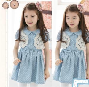 China Wholesale high quality girls dress jean lace dress baby girls fashion dress 5pcs/lot on sale