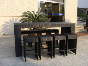 Quality Outdoor Resin Wicker Bar Set For